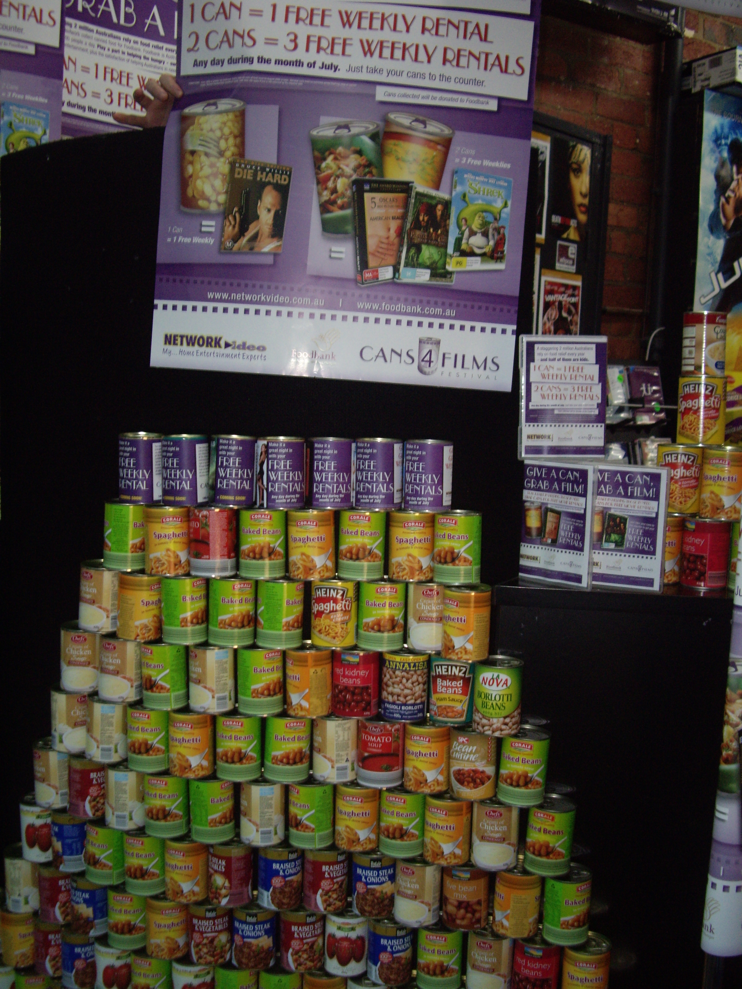 Cans4Films Festival display (2014)