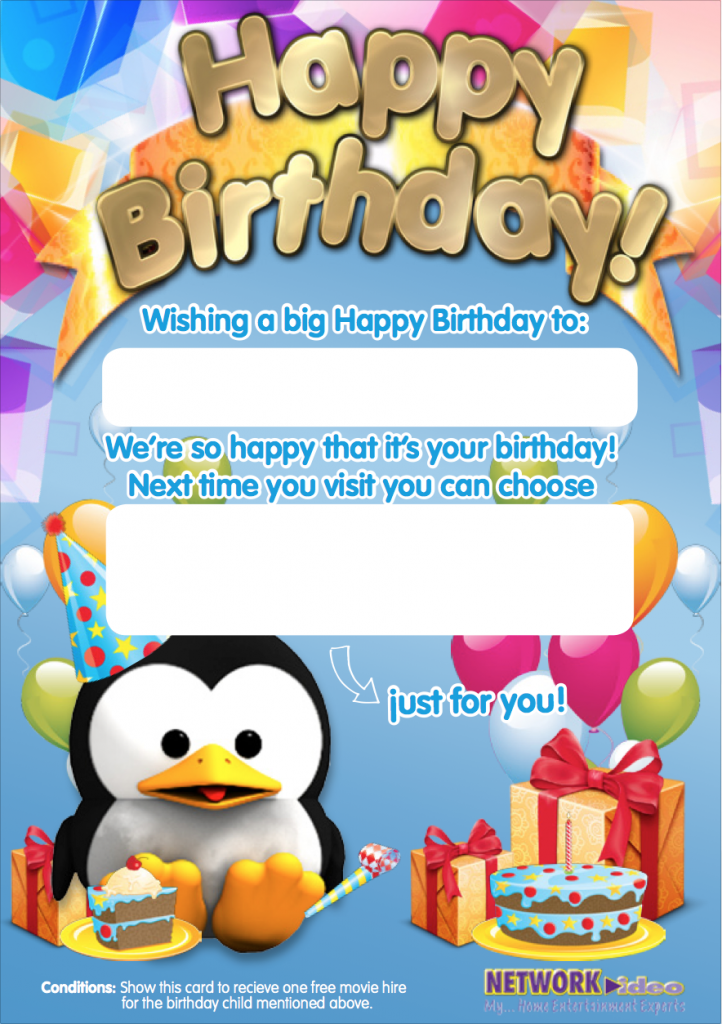 Pee Wee Kids Club Happy Birthday card